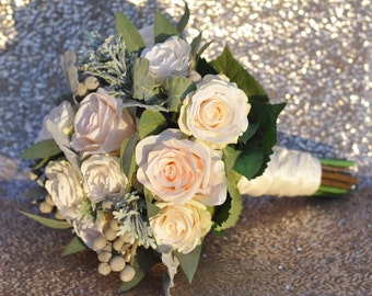 Wedding Flowers, Wedding Bouquet, Bride Bouquet, Blush Roses, Ivory Roses, Dusty Miller, Brunia, Eucalyptus, Decorations, Wedding.