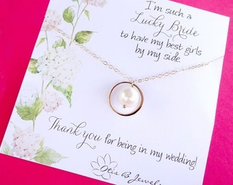 Be my Bridesmaid gifts, pearl necklace with message card, bridesmaid invites, asking bridesmaids, eternity friendship necklaces, Otis B