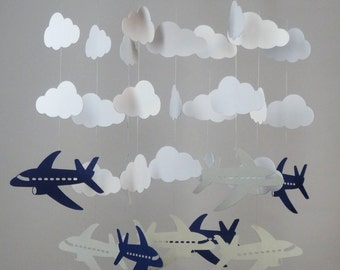 Airplane and Cloud Baby Mobile in Light Gray, Navy Blue and White