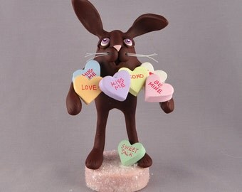 Polymer Clay Chocolate Bunny with Candy Conversation Hearts Figurine