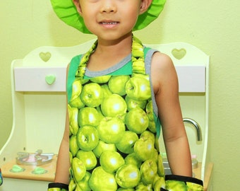 Child's Apron, Green Apples Apron, Child's Craft Apron