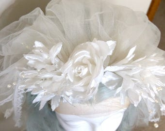 Gently Used Bridal Veil - Three Tiers of Delicate Lace-Trimmed Tulle and Floral Top with Pearl Sprigs - Excellent Condition!