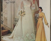 Vogue Bridal Design 1488 1970s 70s Bishop Sleeves Train  Wedding Dress Gown Vintage Sewing Pattern Size 16 Bust 38