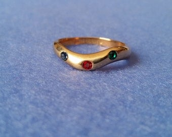 Vintage Esposito Wavy Ring, 14KT GE size 6.25 with blue, red, and green crystals