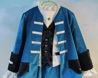 Child's Velvet Pirate, Beauty And The Beast Costume: Fully Lined Coat & Vest, Shirt, Pants - Size 6 To 10, All Cotton/Silk, Ready To Ship
