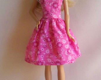 Handmade Barbie Doll Clothes- Pink Print Barbie Dress