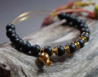 Pomegranate bracelet, black bead bracelet, onyx bracelet, Gold Charm bracelet, stacking bracelet, Gold adjustable bracelet, Bangle bracelet