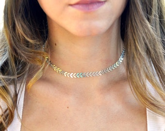 Silver or Gold Fishbone Choker Necklace, Silver Choker Necklace, Short Silver Choker, Chevron Chain Choker, Silver Chevron Choker