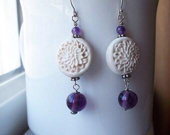Purple Earrings Bead Cream White Rosette Drop Earrings in Sterling Silver
