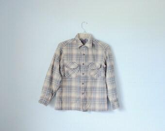 Vintage Pendleton Light Blue, White & Gray Wool Flannel Shirt, Made in USA, Womens Medium / ITEM510