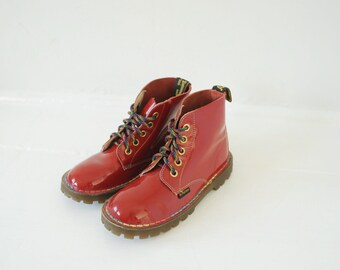 Vintage Dr. Martens Red Patent Leather Ankle Boots, Made in England, Youth UK 12, US 13 / ITEM165