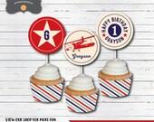 Airplane Birthday Cupcake Toppers, Vintage Airplane Birthday, DIY Printable PDF File, Personalized