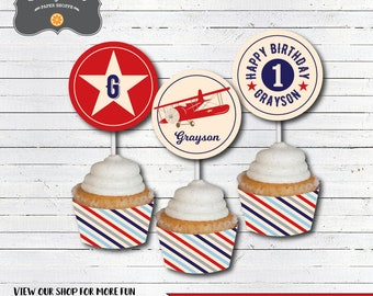 Airplane Birthday Cupcake Toppers, Airplane Birthday Decorations, Vintage Airplane Birthday - DIY Printable PDF File