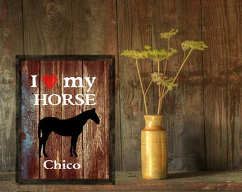 Horse lover gifts, Personalized Horse gifts for cowgirls or cowboys, i love my horse wall art decor