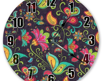 """10.5"""" COLORFUL FLORAL Clock - Large 10.5"""" Wall Clock - Home Décor Clock - Flower Clock- Unique Wall Clock - Birthday Gift - 3014"""