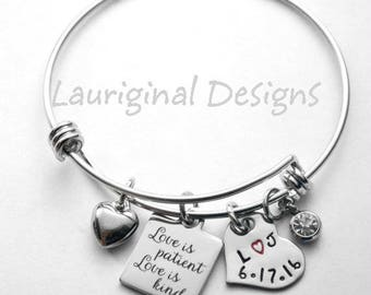 Love is patient bracelet - Gift for wedding reader - all non allergenic stainless steel