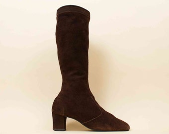 60s 70s Vtg Brown Genuine SUEDE Leather Knee High Zip Up Tall Boots / Chunky Platform Heel MOD Garage Hippie Boho  / 11 10.5 Eu 42.5 42