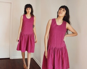 Vintage Magenta Thick Corduroy Drop Waist Dress Small