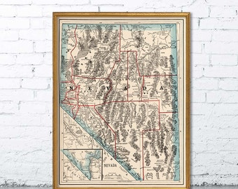 Old map of Nevada - Historical map restored , fine print - Wall map reproduction