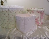 Shabby Cottage Chic Storage Baskets Handmade from Ashwell Simply Shabby Chic Fabric,in Pink, White & Green from the Blush Beauty  Collection