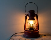 Vintage Lantern Lamp - Repurposed Dietz Little Giant Lantern Light Kerosene Converted Electric Plug In Plugin Desk Lamp Nightlilght