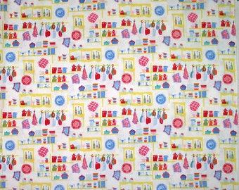 2006 Alexander Henry pantry cute kitchen cooking pots pans OOP cotton quilting fabric - destash
