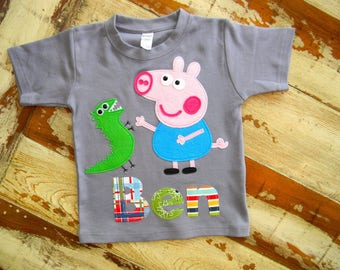 Boys George Peppa Pig Long or Short Sleeved Personalized, Size 6-12m to 12yrs
