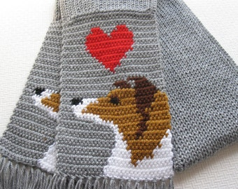 Collie Dog Scarf.  Grey crochet scarf with Shetland Sheepdog or Sheltie dogs.  Rough coated collie. Animal scarf