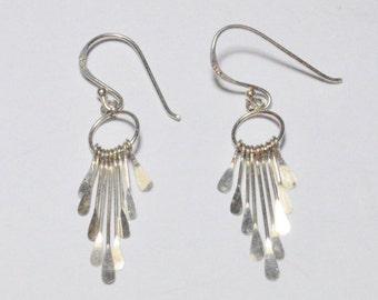 SALE Vintage Sterling Silver Southwestern Wind Chime Style Pierced Dangle Earrings