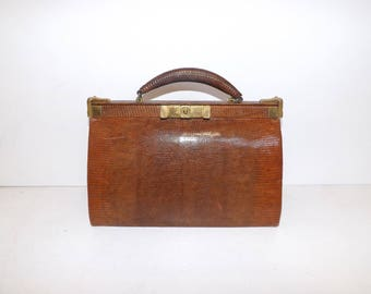 Vintage 1930s real lizard skin leather brown gladstone bag doctors style handbag by John Pound