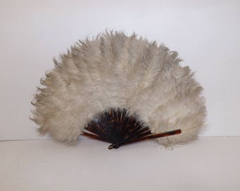 Vintage 1920s large white cream real ostrich marabou feather fan and faux tortoiseshell celluloid