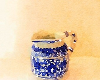 Blue and White pitcher print