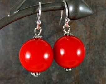 Gumball Earrings, Round Bead Earrings, Red, Chunky Earrings, Drop Earrings, Dangle Earrings, Silver, Red Earrings, Ball Earrings, Acrylic