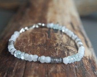 "Moonstone, Aquamarine and Labradorite Sterling Silver layering bracelet - Ready to ship - 7.5"" long"
