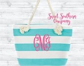 Monogrammed Turquoise Stripe Bride or Bridesmaid Tote Bag - Embroidered Gift Bag