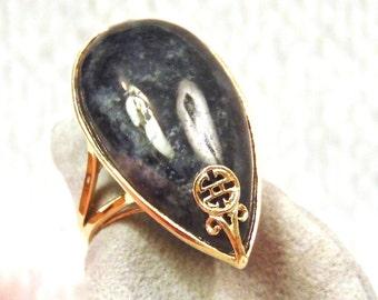 14K Black Jade Pear Cut Yellow Gold Ring, 12.70 Carats, 7 Grams, Statement Ring