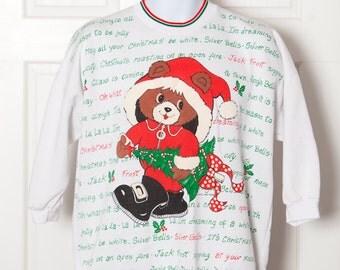 Adorable 80s Vintage Christmas Bear Santa Claus Sweatshirt