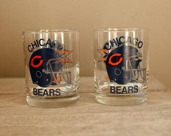 Two CHICAGO BEARS 1986 Super Bowl XX Drinking Glasses