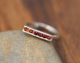 Garnet Ring - Garnet Channel Ring - Garnet Silver Ring - Silver Garnet Ring - Channel Bar Ring  - Garnet Stacking Ring