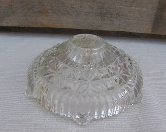 Clear Pressed Glass Candle Holder, Taper Holder, Wedding Candle