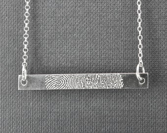 Fingerprint Necklace, Fingerprint Jewelry, Handwriting Engraving, Personalized Jewelry, Bridesmaid Gift, Bar Necklace, Engraved Necklace