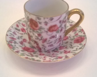 Norcrest Pink Rose Chinz Teacup and Saucer - Vintage Floral Tea Cup and Saucer - Made in Japan