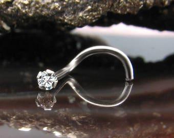14K, 18K, 24K, Solid White Gold Nose Ring Screw Left Nostril 1.5mm, 2mm, 2.5mm, 3mm Genuine Diamond. Choose Your Gauge. 22G, 20G, 18G