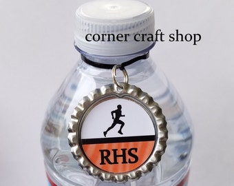 1 Personalized Name MEN'S TRACK Runner  Bottle Cap Water Bottle Charm, Drink tag, Sports Bottle Label Team Gifts 15 colors cross country