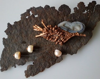 brooch with gray flower chalcedony and real copper electroformed juniper branch and real pearl