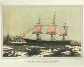 Antique Art Print 1950, CLIPPER SHIP sailing ship color lithograph print Plate 54