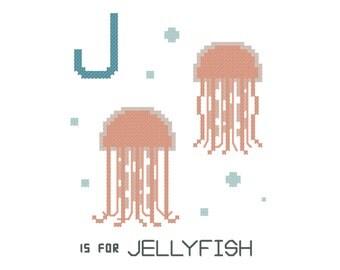 J is for Jellyfish   Modern cross stitch PATTERN   Alphabet Animalia