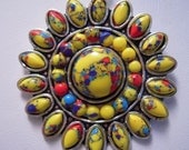Sun Burst Flower...Made Of Mosaic Jasper From France...Set In 925 Sterling Silver...ON SALE