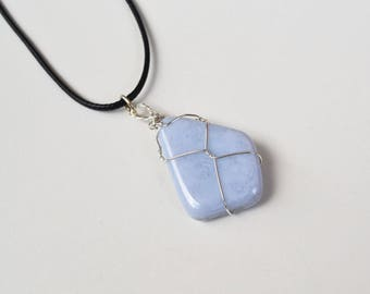 Blue Lace Agate, Wire Wrapped Stone, Blue Lace Agate Necklace, Blue Lace Necklace, Tumbled Stones, Wire Wrapped Stone, Purple Stone Jewelry
