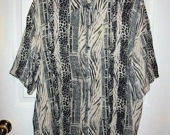 Vintage 90s Mens Black & White Print Silk Shirt Prestige Linea Noeva Large NOS Only 12 USD